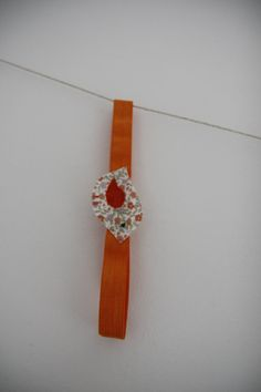 Orange floral bird with an orange wing on a by SecretSquirrel13, £2.50