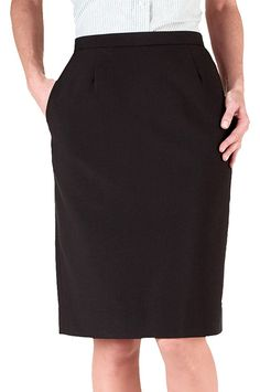 Polyester dress skirt Flat front, back button closure and nylon zipper Side elastic offers comfort stretch Two side pockets, rear kick pleat Work Skirts, Mini Skirts, Women's Skirts, Straight Skirt, Skirt Fashion, Women's Fashion, Fashion Outfits, Womens Flats, Suits For Women