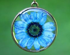 resin jewelry pressed flower necklace. peach by StudioBotanica