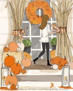 Herfst versieren-herfst kunst voor door RoseHillDesignStudio