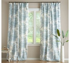 Potterybarn Drapes, Matine Toile Drape With Blackout Liner
