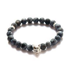 Beaded Wolf Bracelet // Labradorite + Silver Wolf