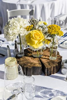 Rustic Wedding Reception flowers Yellow, Grey and White