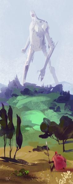 art, illustration, figure, man, knight, behind, monster, robot, landscape, tree. //  The Giant Returns