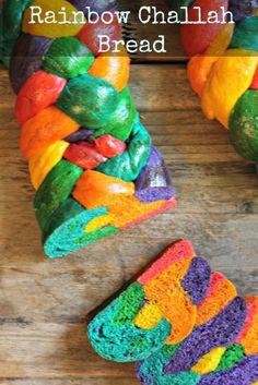 Rainbow Challah Bread via whatjewwannaeat.com