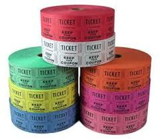Carnival Raffle Tickets - Available in many different colors! 2,000 tickets per roll School Carnival, Fall festival, Carnival Ideas, Fundraising ideas, raffle drum tickets