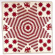 """Pieced lone star and eagle quilt, late 19th c., 85"""" x 87"""". Provenance: The Collection of Foster & Muriel McCarl, Beaver Falls, PA."""