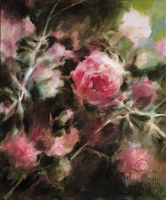 Le rosier rose (Peinture),  50x60x2 cm par Fabienne Monestier Peinture à l'huile sur toile.  FRAIS DE PORT GRATUITS POUR LA FRANCE.