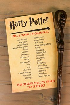 Printable Harry Potter Spells and Charms Matching Game Think you know your Harry Potter spells and charms? Print out this Harry Potter spell and charm matching game and put your skills to the test! A magical game for any Harry Potter party. Baby Harry Potter, Harry Potter Baby Shower, Harry Potter Motto Party, Harry Potter Fiesta, Harry Potter Party Games, Harry Potter Activities, Harry Potter Halloween Party, Harry Potter Classroom, Harry Potter Printables
