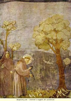 Giotto. St. Francis Preaching to the Birds. 1295-1300. Fresco. St. Francis, Upper Church, Assisi, Italy