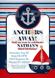 find this pin and more on 1st birthday ideas anchors away nautical sailor birthday or baby shower invitation