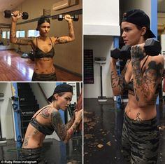 Ruby Rose Workout & Diet for xXx: Return of Xander Cage. Ruby Rose exercised for 5 hours a day to prepare for her role. She beat Vin Diesel in training Fitness Workouts, Workout Diet, Dumbbell Workout, Androgynous Women, Androgyny, Toned Abs, Australian Models, Orange Is The New Black, Celebrity Crush