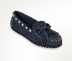 The Rebecca Minkoff Studded Kilty Moc in classic navy.