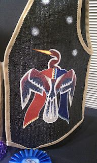 Dyanni Hamilton-Youngbird (Navajo),  detail of award winning Beaded Vest  at the  54th Annual Heard Indian Fair & Market, 2012