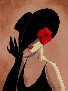 me ~ Lorraine Dell Woo ~ Flirty Hat Art Deco Illustration, Diamond Art, Lorraine, Art Drawings, Canvas Art, Diy Canvas, Sculpture, Wall Art, Painting