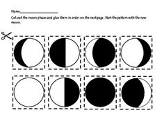 Moon Phase Sort (cut and paste) by Heather Elizabeth Creations Science Experience, Science Fair, Science Lessons, Science Education, Science For Kids, Science Projects, Space Theme Preschool, Moon Activities, Solar System Projects