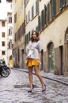 cd10916c9b0 aimee song marni ruffeled jersey top yellow ruffled skirt casadei heels  Aimee Song