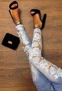 Light Blue Lace Crochet Hollow-out Patchwork Pocket Mid-rise Sexy Pencil Jeans - Bottoms