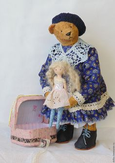 Купить Папа подарил мне куклу - тёмно-синий, тильда, чемодан, мишка, тедди, винтаж