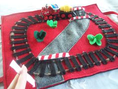 Quiet Play Felt Train Track with Metal Pull Back Train