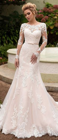 Amazing Tulle & Organza Bateau Neckline Mermaid Wedding Dress With Lace Appliques & Belt
