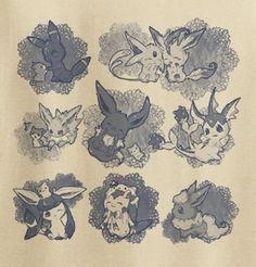 Custom Fanmade Eeveelution Pokemon Eevee Cute T-Shirt Tee Tshirt