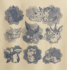 Custom Fanmade Eeveelution Pokemon Eevee Cute T-Shirt Tee Tshirt Eevee Cute, Pokemon Eeveelutions, Eevee Evolutions, All Pokemon, Cute Pokemon, Draw Pokemon, Digimon, Manga Anime, Cute Tshirts