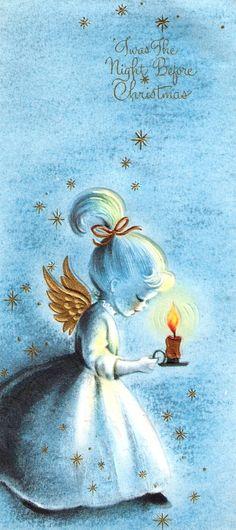 Vintage Christmas Angel and Candle
