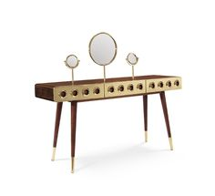 Monocles Dressing Table | Essential Home Mid Century Furniture | Bedroom Design. Bedroom Decor. #dressingtable #bedroomdesign #homedecor Find more: http://essentialhome.eu/products/casegoods/monocles-dressing-table