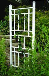 modern trellis--maybe grow some Jasmine on the patio?