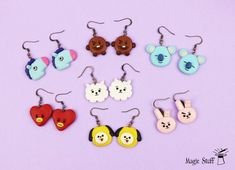 Bts Earrings, Polymer Clay Ring, Bts Clothing, Bts Merch, 3d Prints, Biscuit, Bridesmaid Earrings, Cute Jewelry, Creations