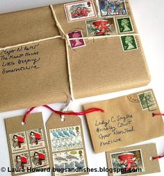 Bugs and Fishes by Lupin: Gift Wrap Ideas # 4: Vintage Stamps