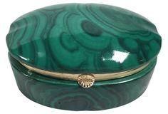 Malachite-Style Limoges Trinket Box