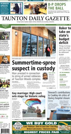 The front page of the Taunton Daily Gazette for Saturday, Jan. 17, 2015.