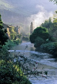 A morning mist rises above the Ninfa River at the Ninfa gardens a few miles southof Rome. photo by Charles Mann