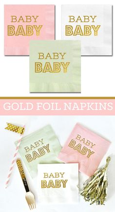 Baby Shower Napkins  Baby Napkins  Pink and Gold Baby by ModParty