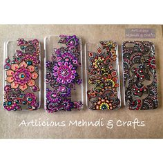 ✨✨Our lovely collection of colourful Iphone covers✨✨More designs to one. which one is your favourite? Painting Glass Jars, Glass Painting Designs, Dot Art Painting, Mandala Painting, Henna Phone Case, Point Paint, Henna Candles, Mandala Dots, Henna Art