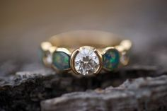 opal and yellow gold and dimond engagement ring...this is my actual ring :) love it.