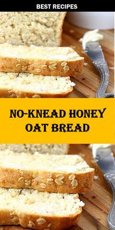 NO-KNEAD HONEY OAT BREAD    NO-KNEAD #HONEY #OAT #BREAD Delicious Recipes, New Recipes, Crockpot Recipes, Easy Recipes, Easy Meals, Cooking Recipes, Healthy Recipes, Honey Oat Bread, Appetizer Recipes