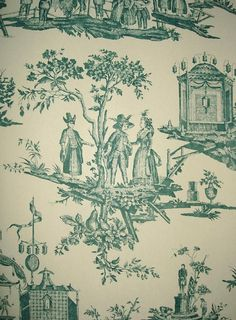 L'ile des Lanternes Wallpaper Pictoral toile in teal on stone Toile Wallpaper, Traditional Wallpaper, Designer Wallpaper, Vintage World Maps, Colours, French, Stone, Teal, Classic
