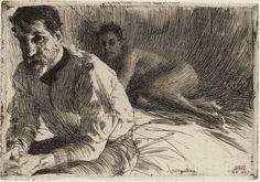 Swedish artist Anders Zorn (1860-1920) Etching