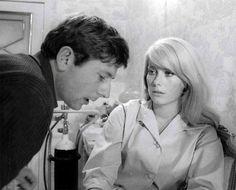 Roman Polanski and Catherine Deneuve on the set of Repulsion (1965)
