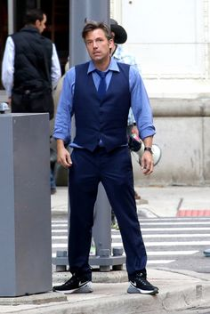 "The New York Post has posted a number of photos of Ben Affleck as Bruce Wayne on the set of ""Batman V Superman"" looking somewhat worse for the wear."