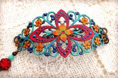 Featured in Belle Armoire Jewelry, hand painted filigree bracelet in bright Spring colors