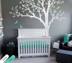 Get It Now White Tree Wall Sticker Baby Nursery Wall Decal Mural Tree Wall Art with Leaves and cute Birds 001 by StudioQuee. Kids Wall Decor, Baby Room Decor, Nursery Wall Stickers, Wall Stickers Tree, Nursery Tree Mural, Baby Room Design, Tree Wall Art, Art Mural, Girl Nursery