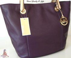 Michael Kors Purse Large Tote Genuine Leather Purple Shoulder Bucket Bag   eBay