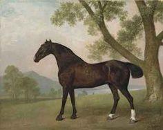 George Stubbs: A dark bay hunter beside a tree in an extensive landscape