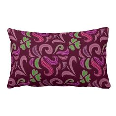 Floral Motiff Burgundy American MoJo Pillow