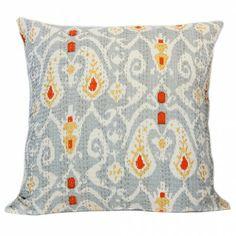 Grey Ikat Hand Embroidered Kantha Cushion