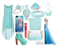 """""""elsa look"""" by cherlinanelemans on Polyvore featuring Duck Farm, Jeffrey Campbell, Moschino, Lime Crime, Ice-Watch, Swarovski and Nadri"""